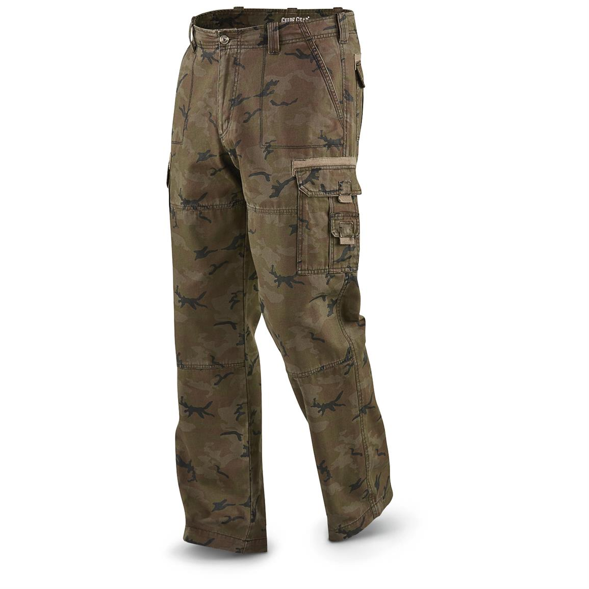 Guide Gear Men's Cargo Pants, Woodland Camo