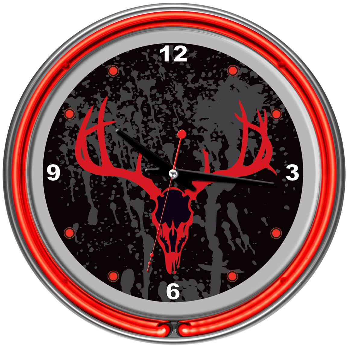 Trademark® Hunt Skull Chrome Double Ring Neon Clock