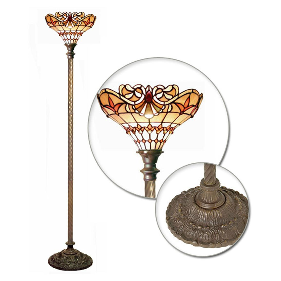 Tiffany-style Baroque Torchier Floor Lamp
