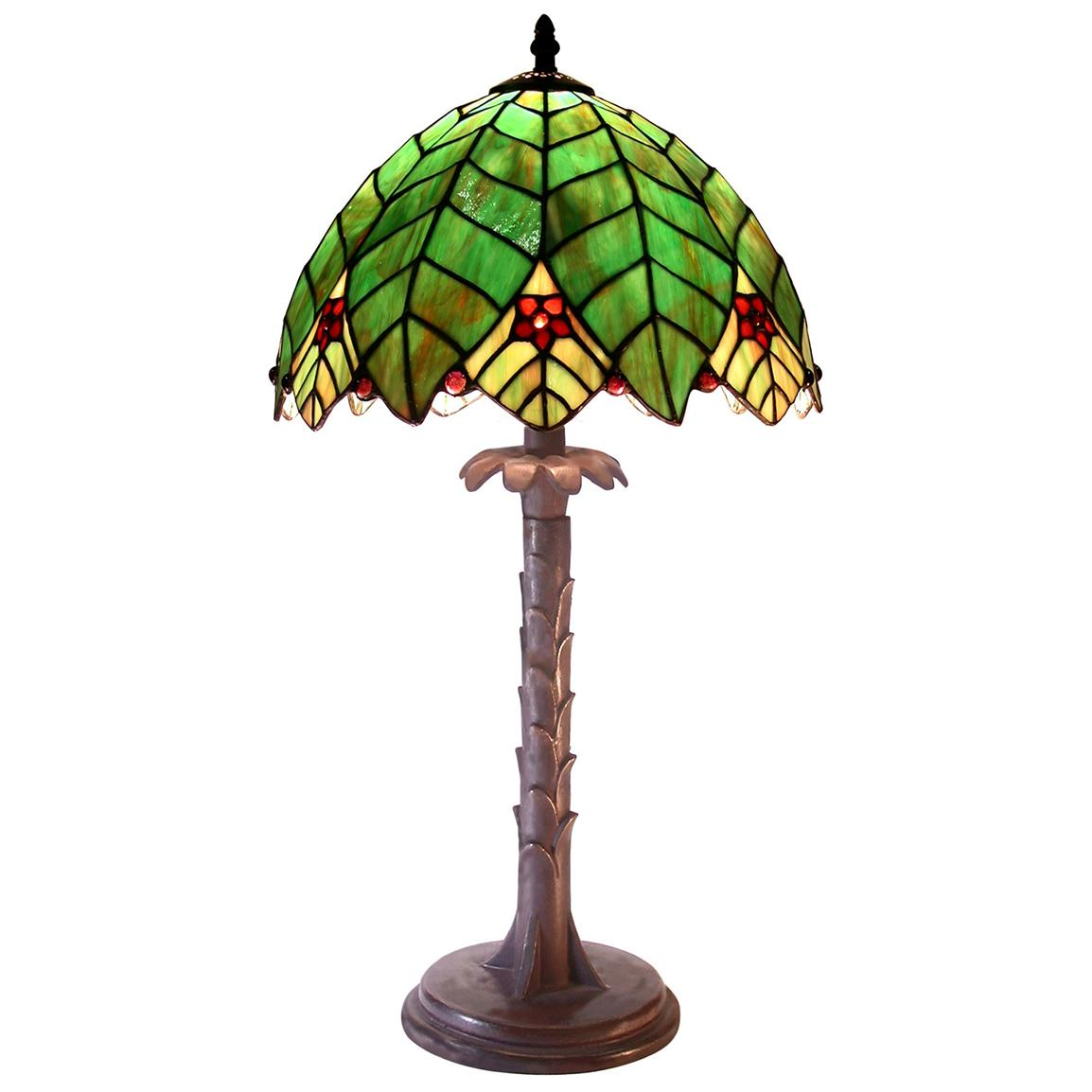 Tiffany-style Palm Tree-shaped Table Lamp