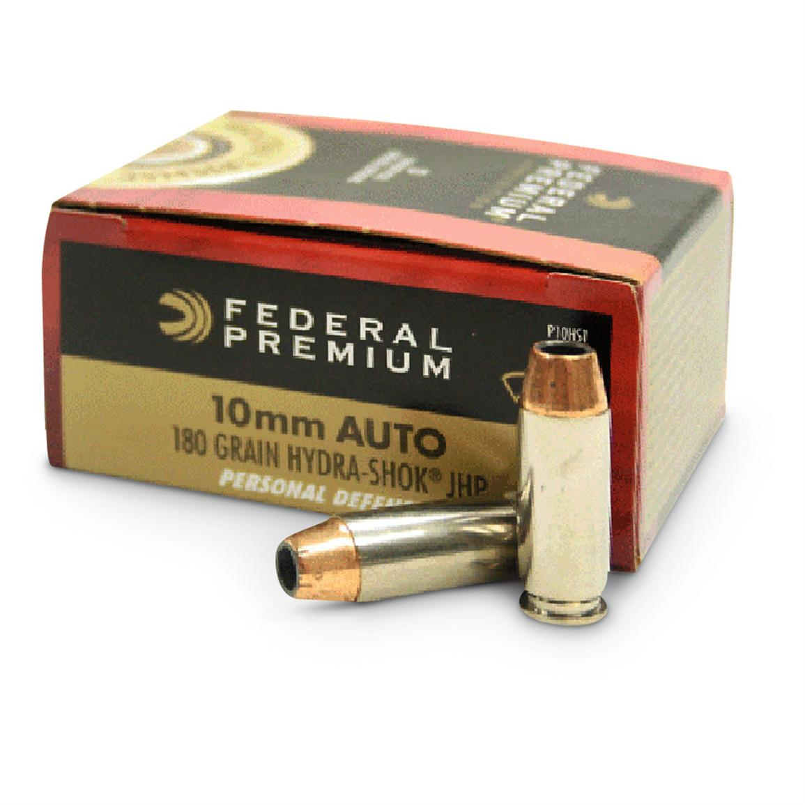 Federal Hydra-Shok, 10mm, Hollow-Point, 180 Grain, 60 Rounds