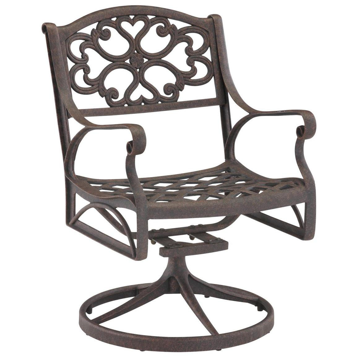 Biscayne Outdoor Swivel Dining Chair, Rustic Brown
