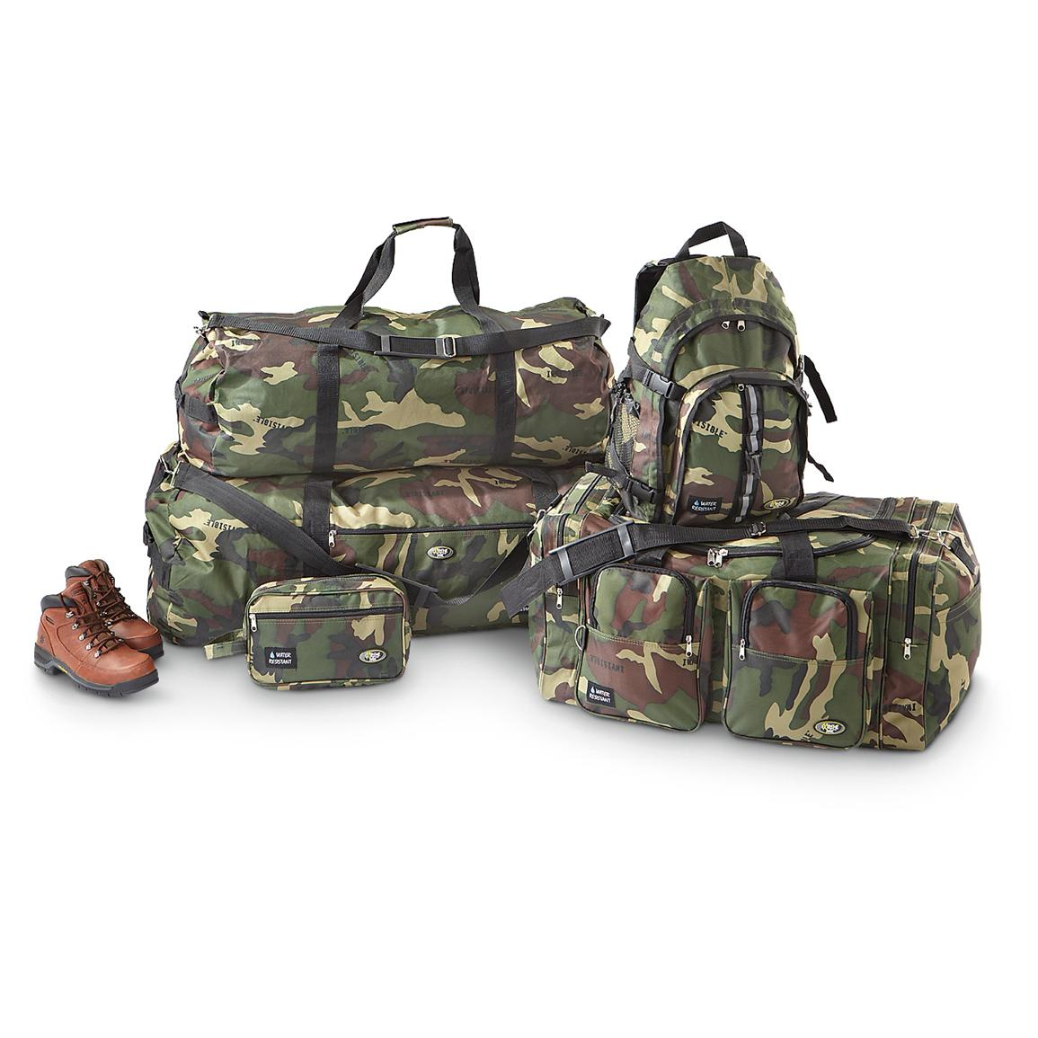 Extreme Pak 5-Pc. Water-repellent Invisible Camo Duffel Bag Set