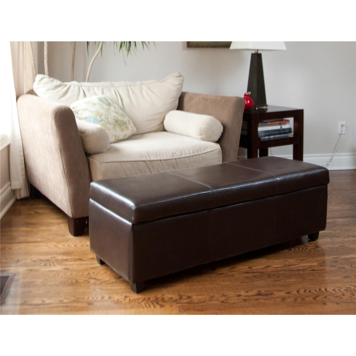living room ottoman with storage avalon large rectangular storage ottoman brown 21156