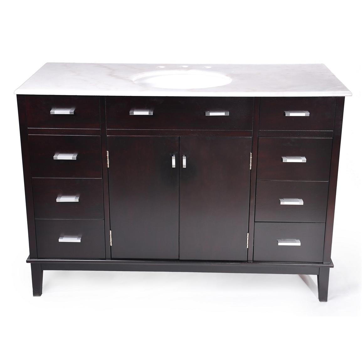 Simpli Home™ 48 inch Urban Loft Bathroom Vanity with Marble Top and Sink