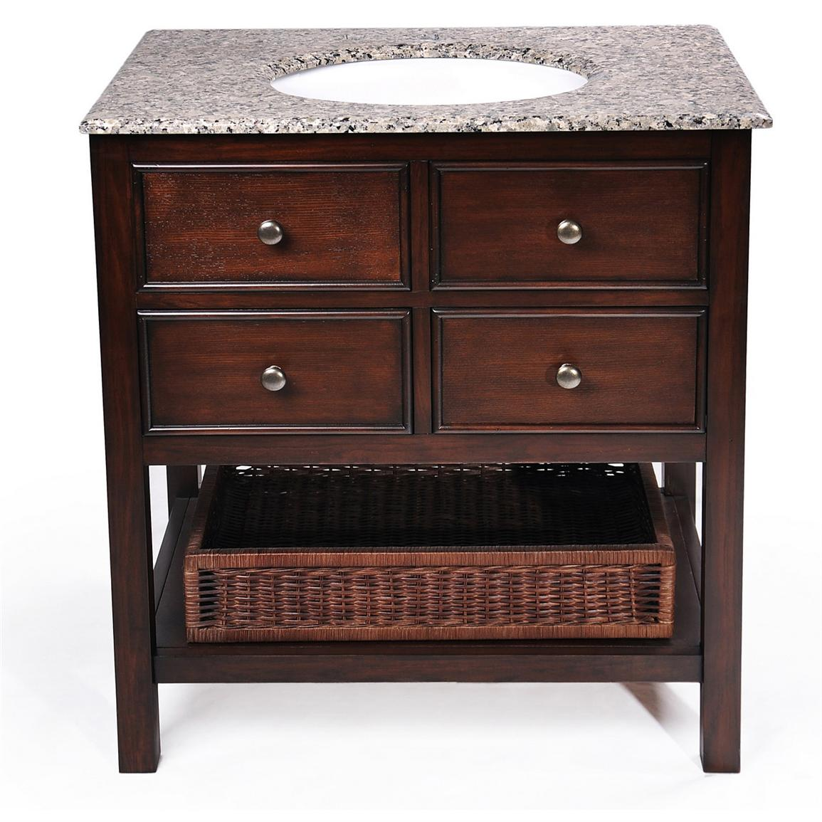 Simpli Home™ 24 inch Burnaby Bathroom Vanity with Granite Top and Sink