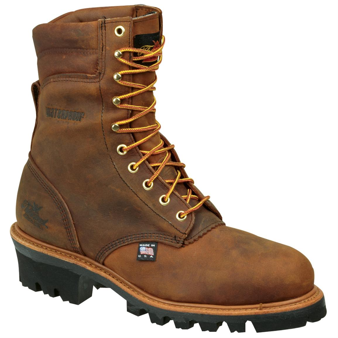 Men's Thorogood® 8 inch Waterproof 400-gram Thinsulate™ Ultra Insulated Logger Work Boots, Brown