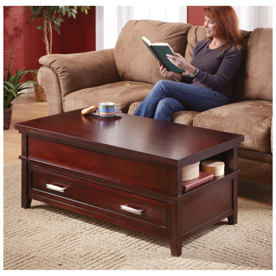 CASTLECREEK™ Lift-top Storage Coffee Table, Espresso Finish - Top lifts up to you