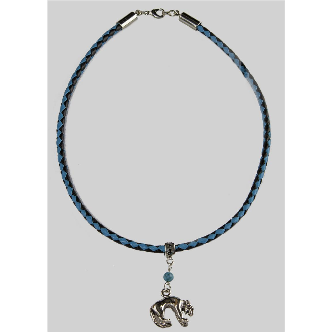 Laura Ingalls Designs™ Mountain Lion on Turquoise and Black Braided Necklace