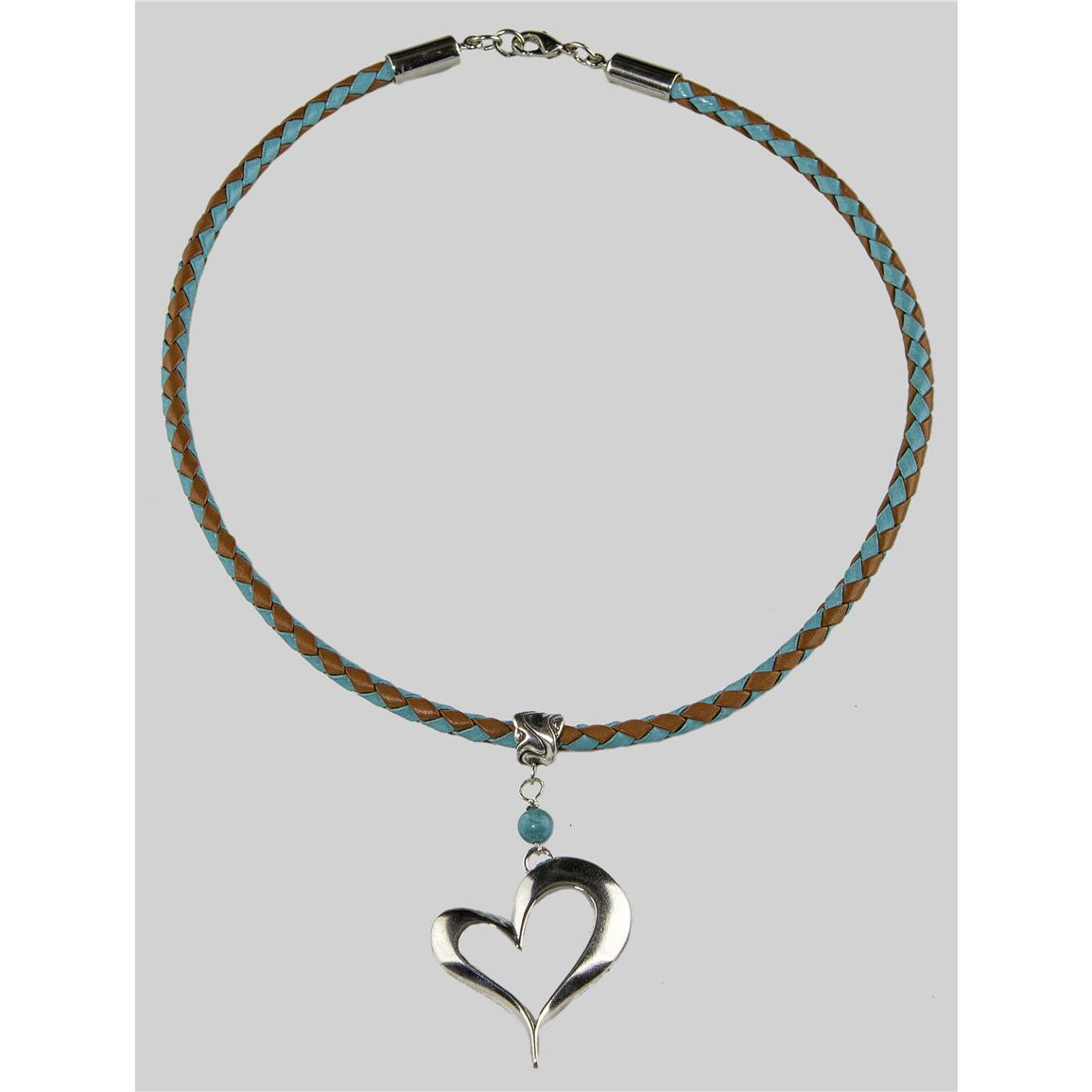 Laura Ingalls Designs™ Open Heart on Turquoise and Saddle Braided Necklace