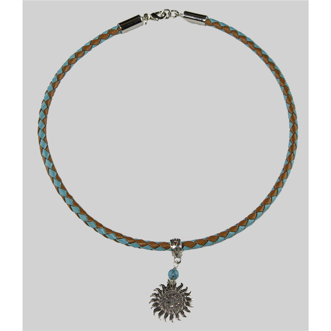 Laura Ingalls Designs™ Sun with Moon on Turquoise and Saddle Braided Necklace