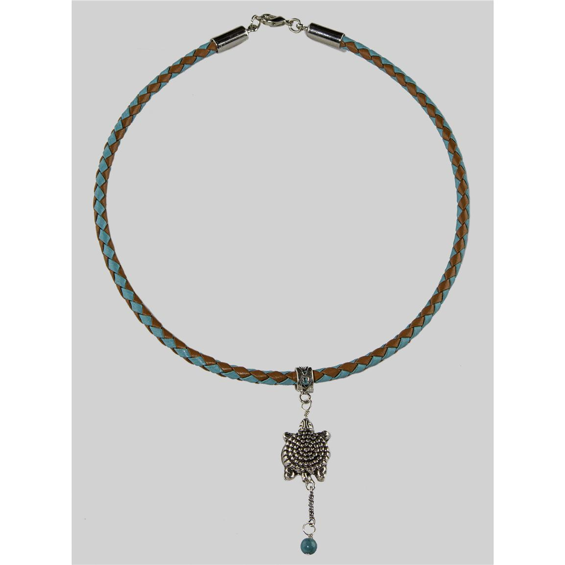 Laura Ingalls Designs™ Turtle on Turquoise and Black Braided Necklace