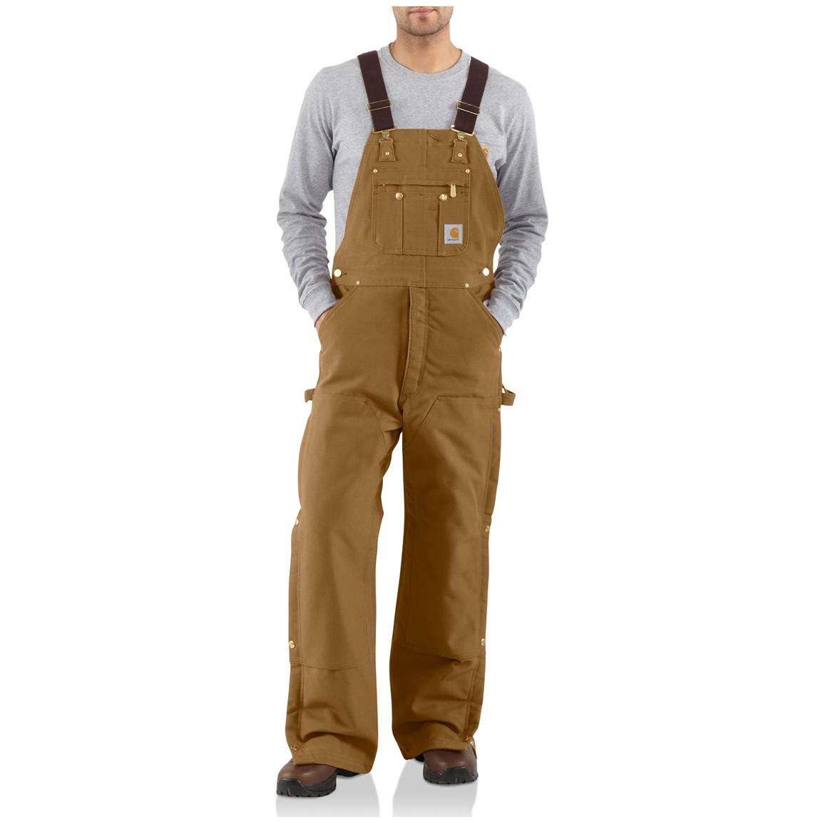 Carhartt® Duck Quilt-Lined Zip-to-Thigh Bib Overalls, Brown