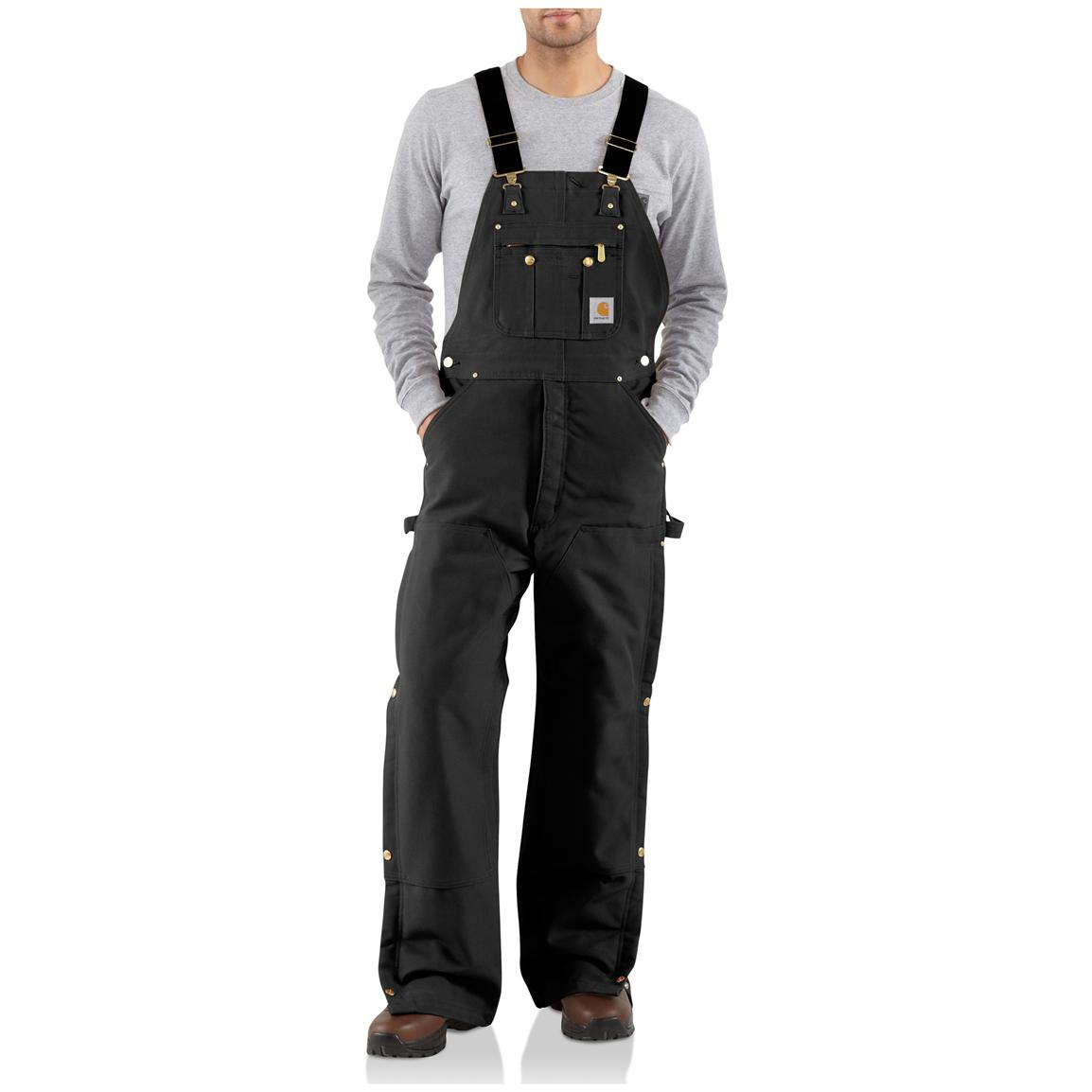 Carhartt® Duck Quilt-Lined Zip-to-Thigh Bib Overalls, Black