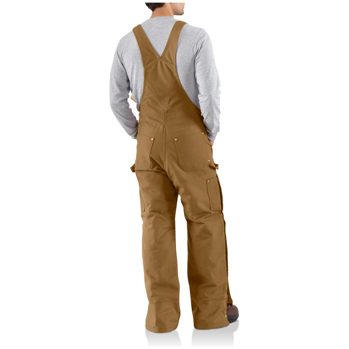 Carhartt® Duck Quilt-Lined Zip-to-Thigh Bib Overalls, Brown • Back View