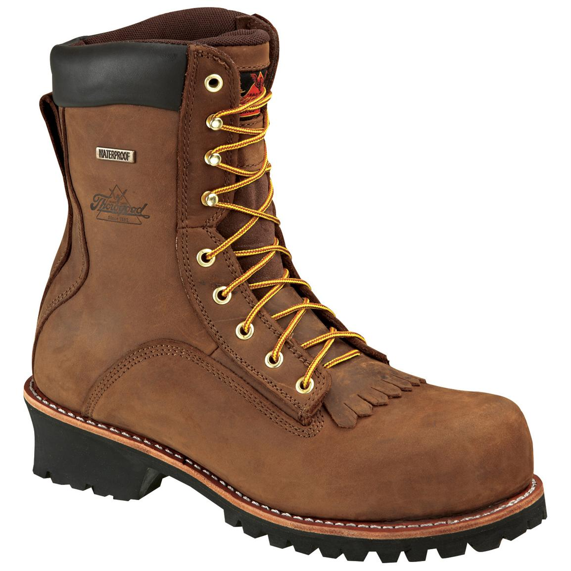 Men's Thorogood® 8 inch Waterproof Composite Toe Logger Work Boots, Brown