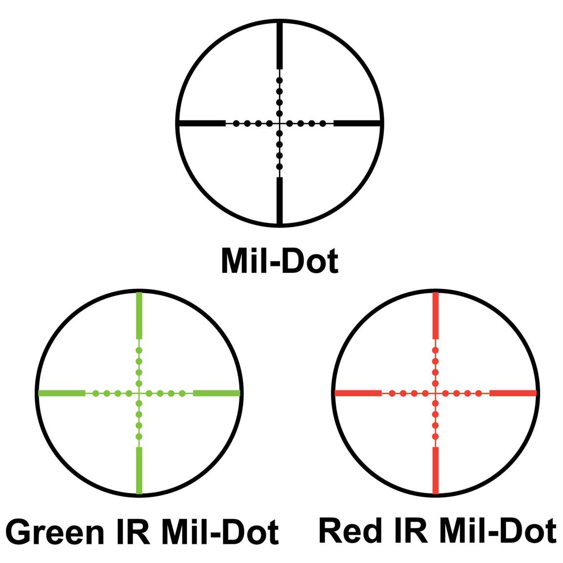 Mil.-Dot / Green IR Mil.-Dot / Red IR Mil.-Dot Reticles