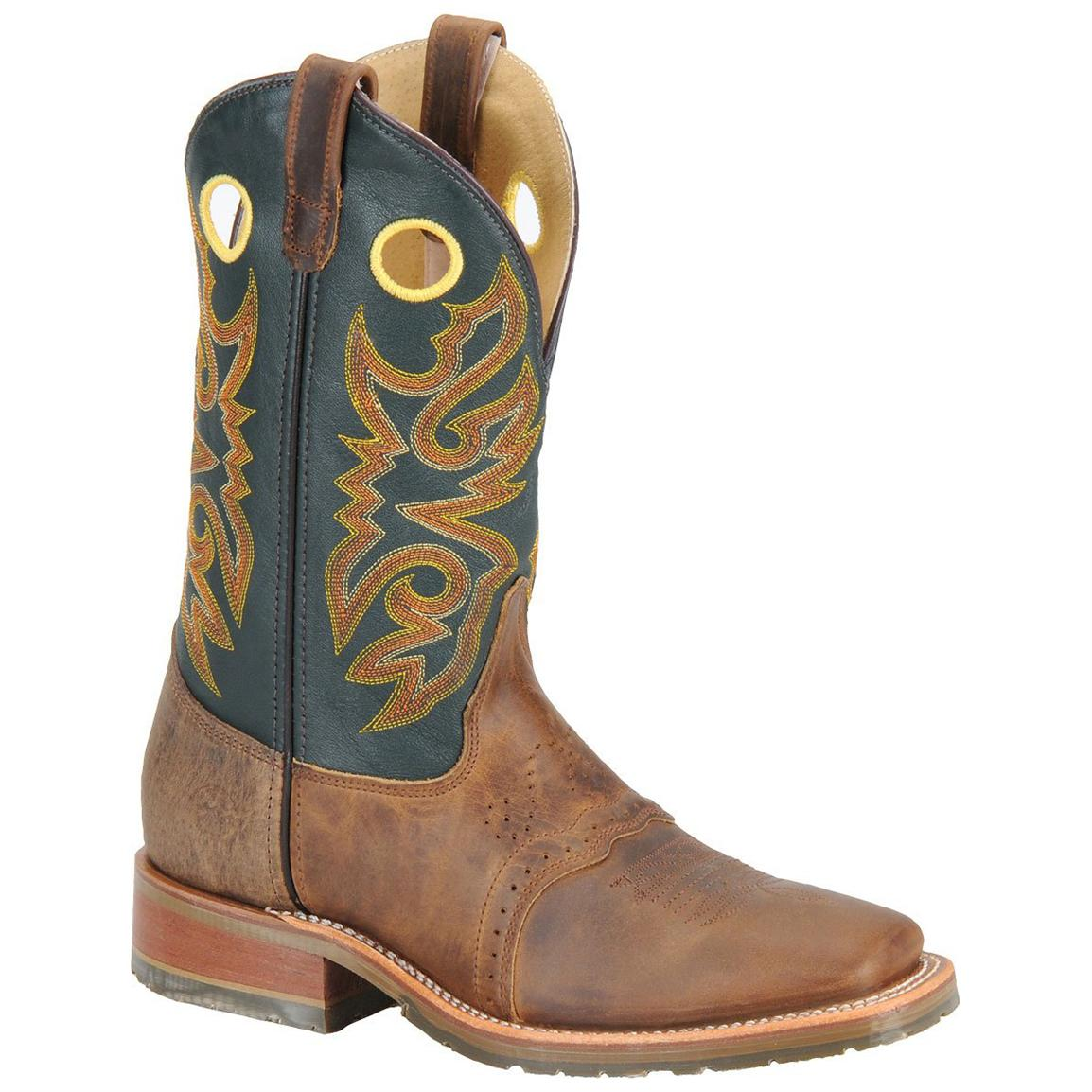 Men's Double H Boots® Square Toe ICE™ Roper Cowboy Boots, Oldtown Folklore / Green