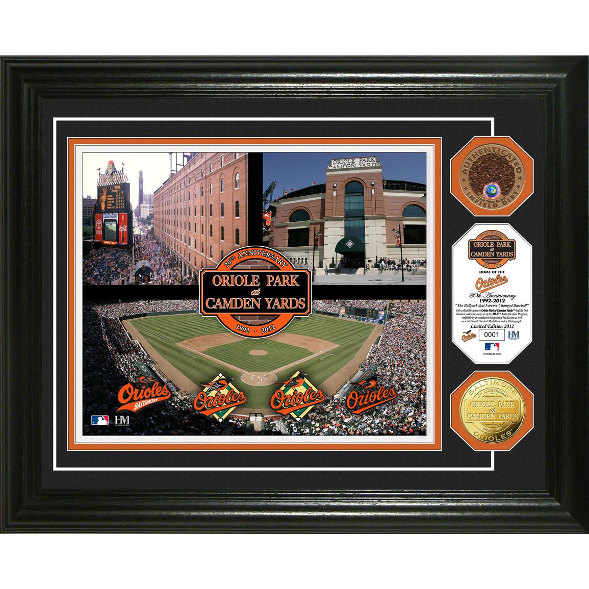 The Highland Mint® Oriole Park at Camden Yards 20th Anniversary Gold & Infield Dirt Photo Mint