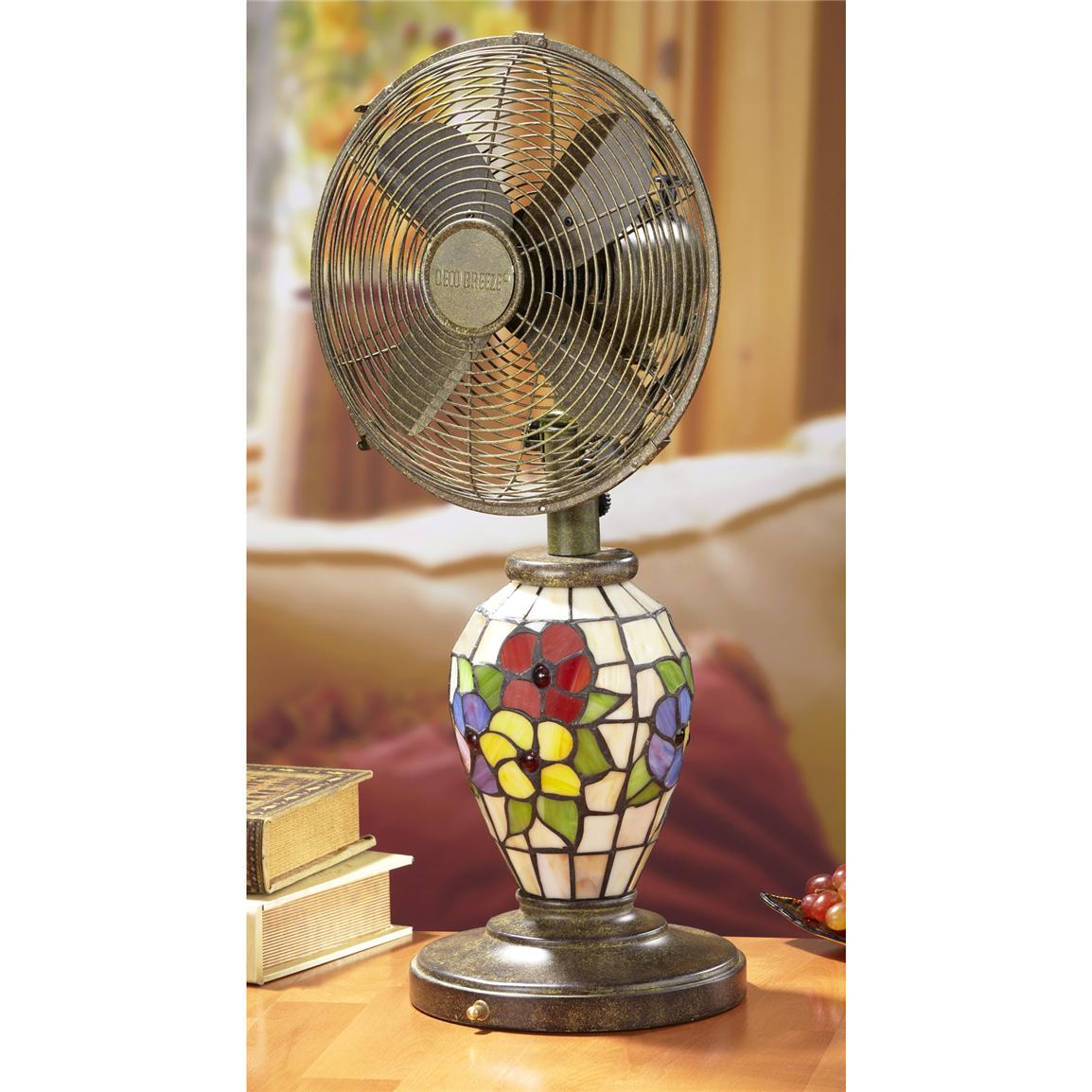 """Flowers"" Mosaic Glass Table Fan from Deco Breeze®"