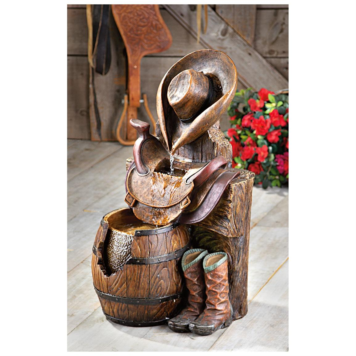 CASTLECREEK® Handcrafted Stone Western Fountain • A real beauty for the cowboy or cowgal type!