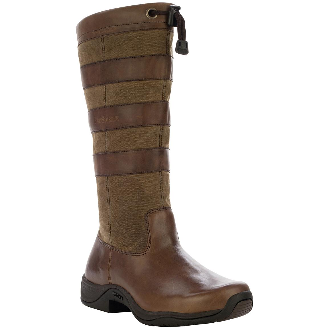 Women's Rocky® Barnstormer 14 inch Waterproof Pull-on Strap Boots, Chocolate / Khaki