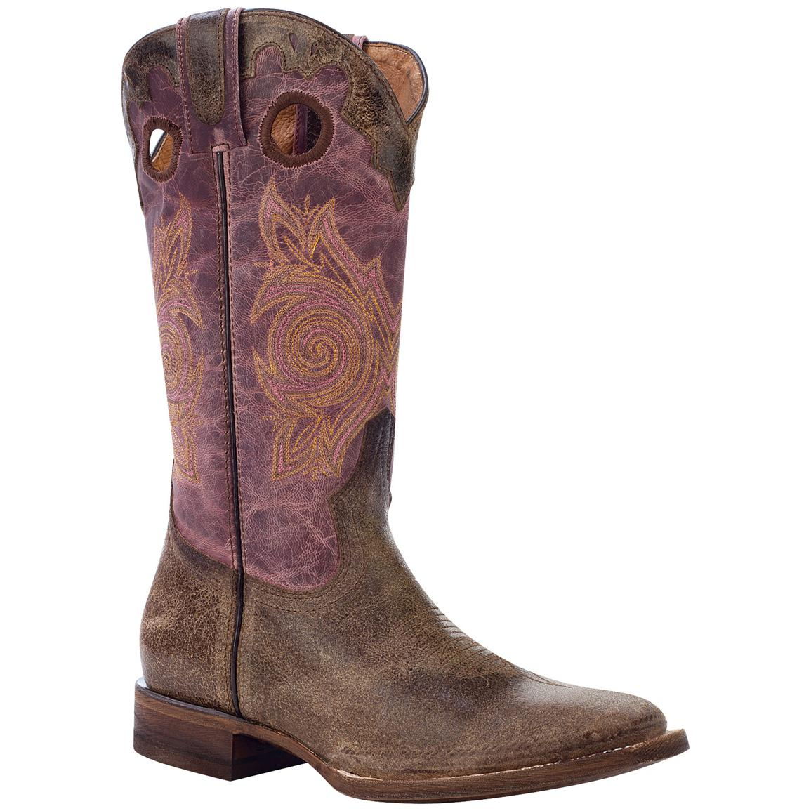 Women's Rocky® 12 inch Handhewn Square Toe Western Boots, Brown / Pink