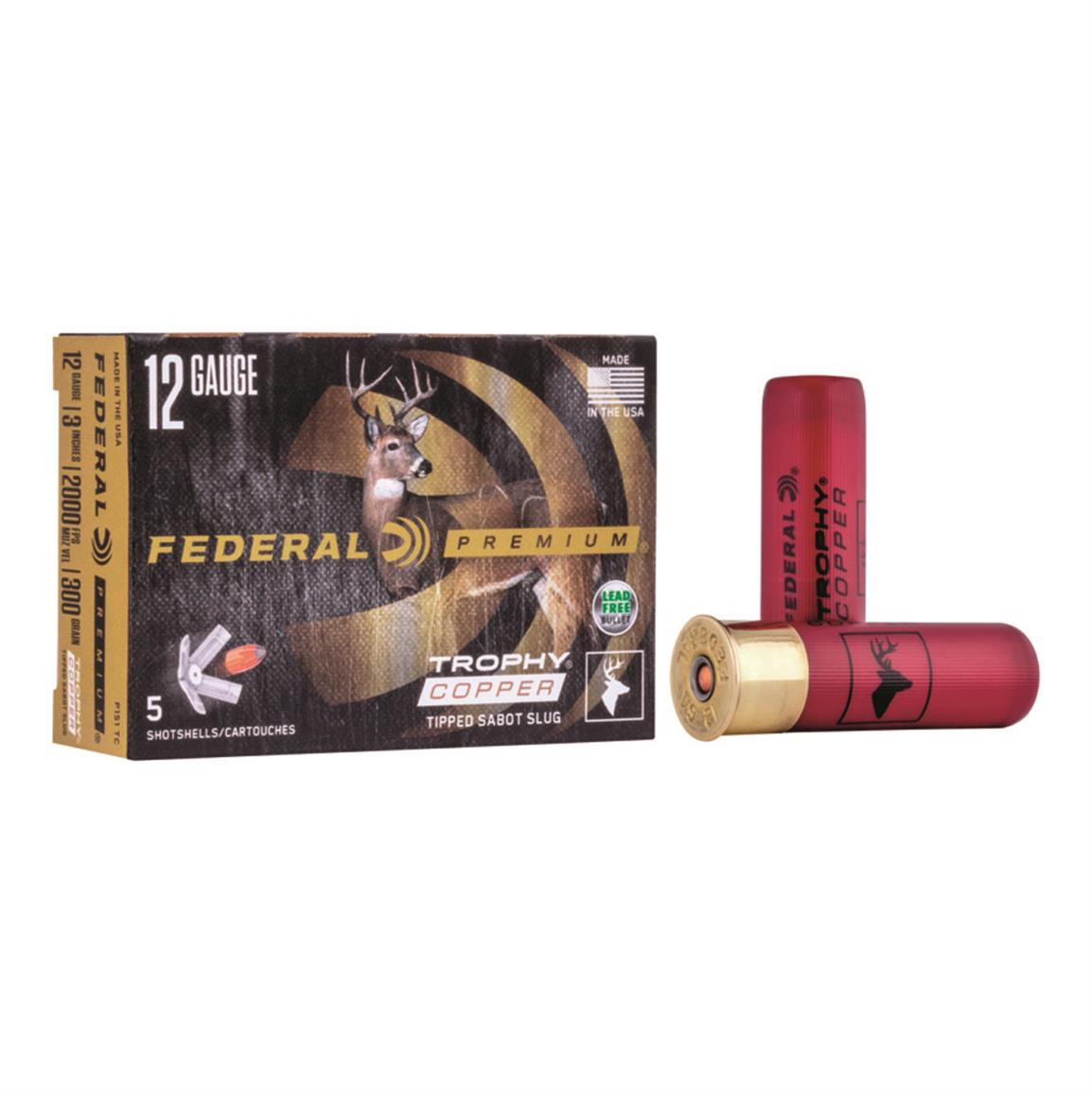 "Federal Premium Vital-Shok, 12 Gauge, 3"", 300 Grain Sabot Slugs, 5 Rounds"