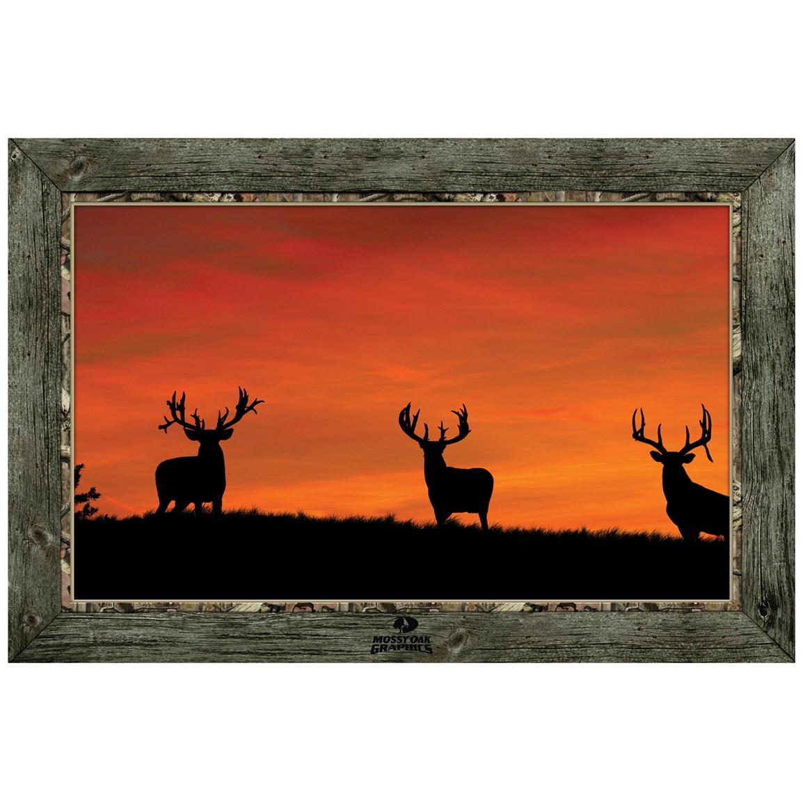 """Whitetail Buck Silhouettes at Sunrise"" Framed Indoor Wall Graphic"