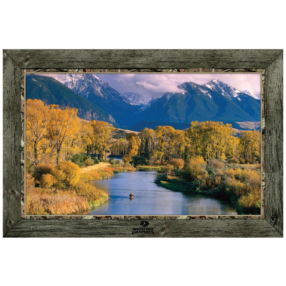 """Fisherman in River with Mountain View"" Framed Indoor Wall Graphic"