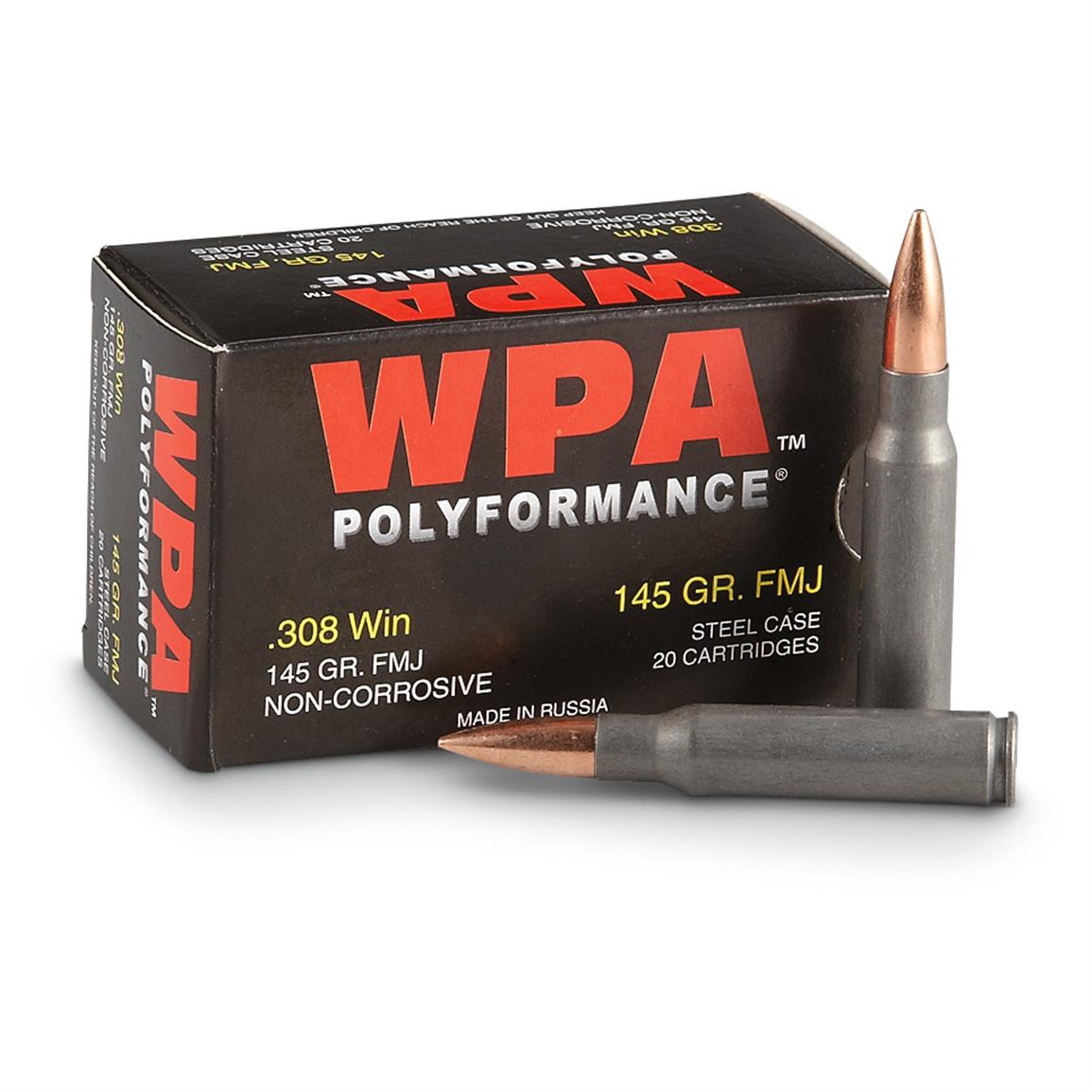240 rounds WPA™ Polyformance® .308 FMJ Ammo