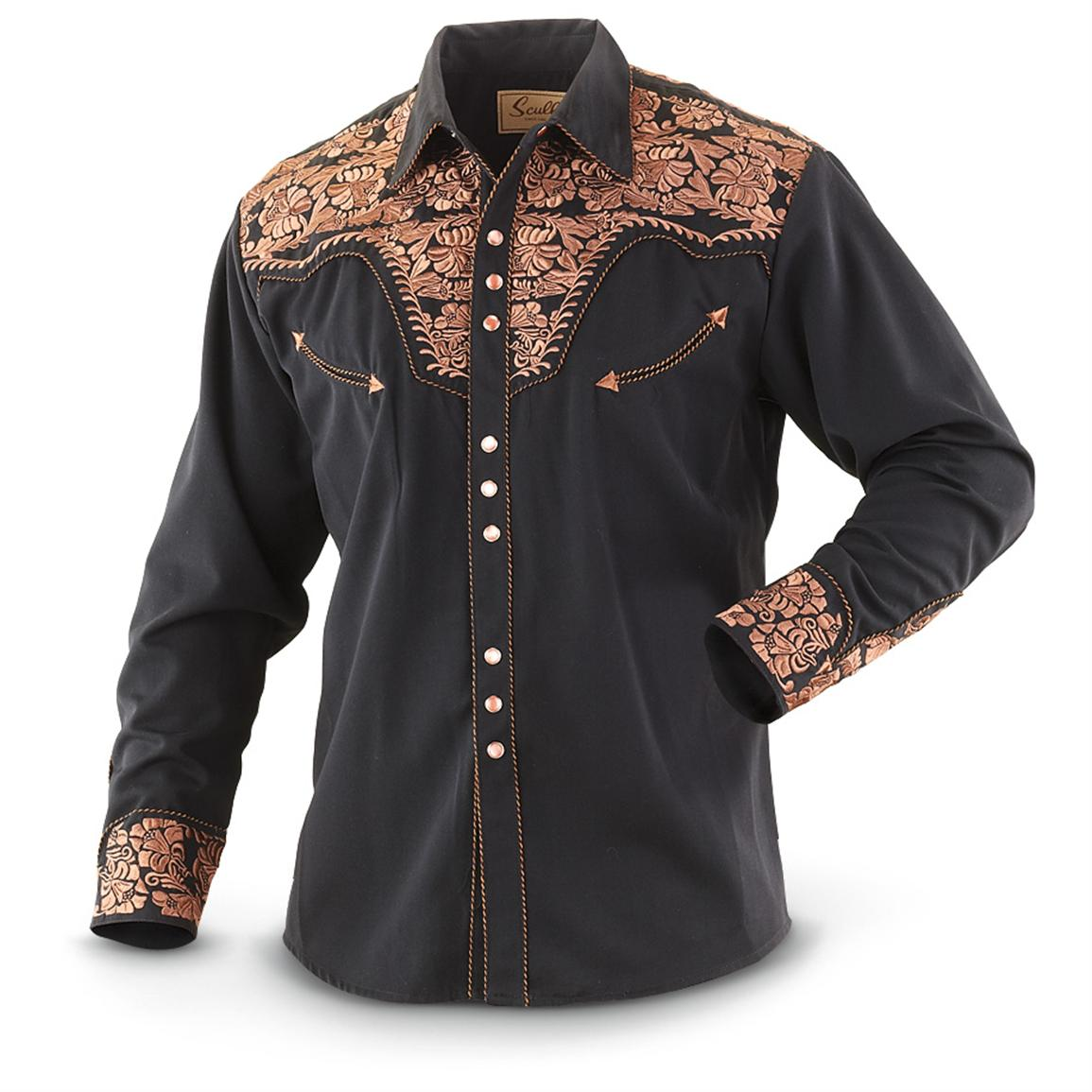 Scully embroidered shirt black  shirts at
