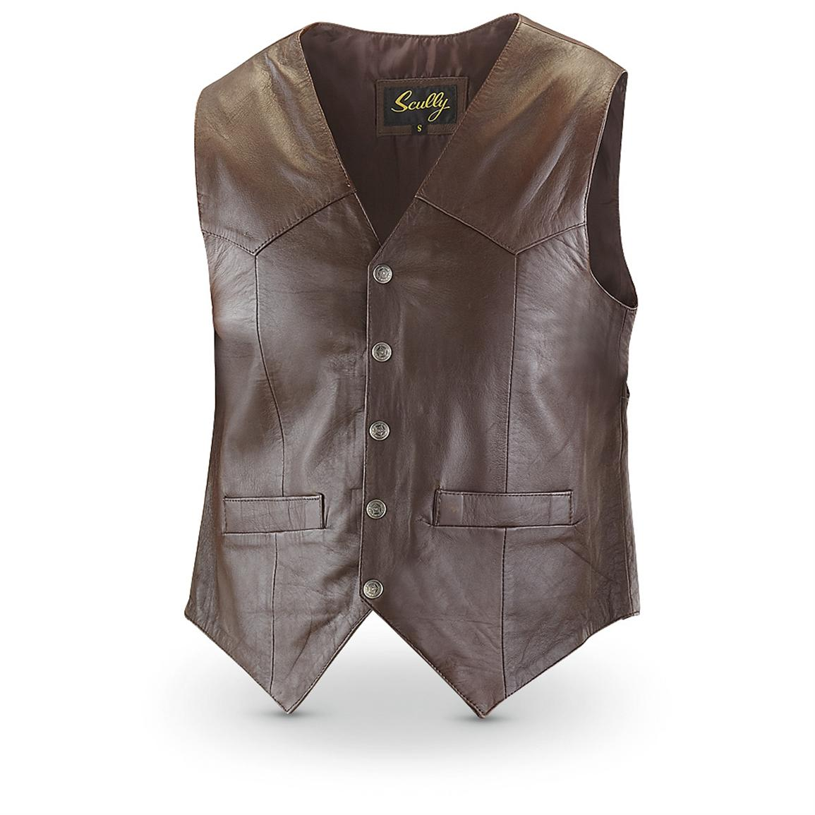Scully® Lambskin Leather Vest, Brown