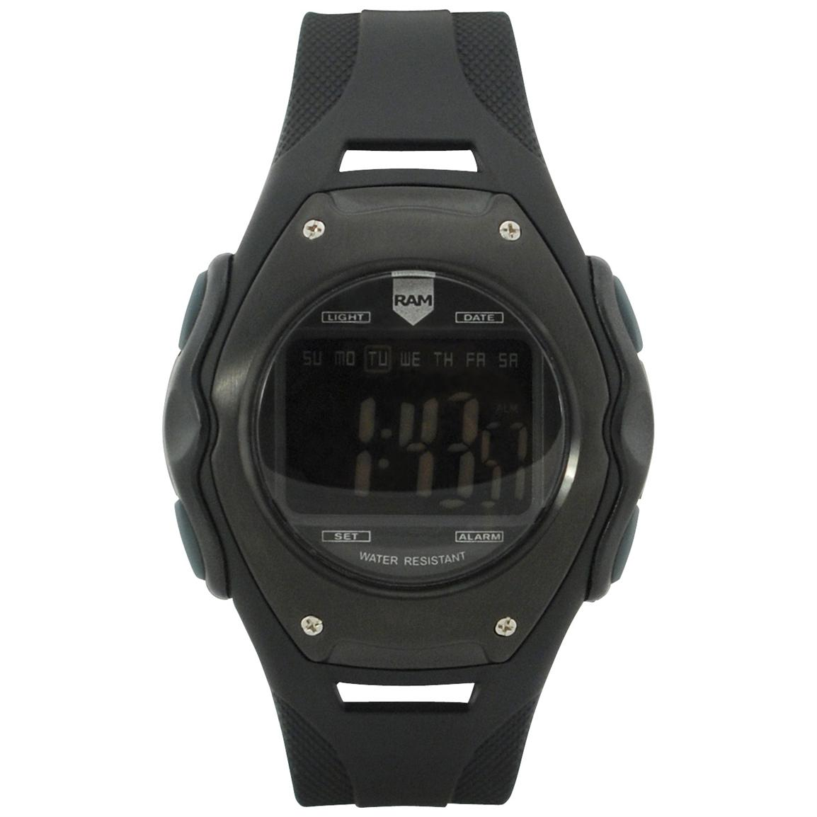 Ram 600 Series Digital Tactical Watch, Black