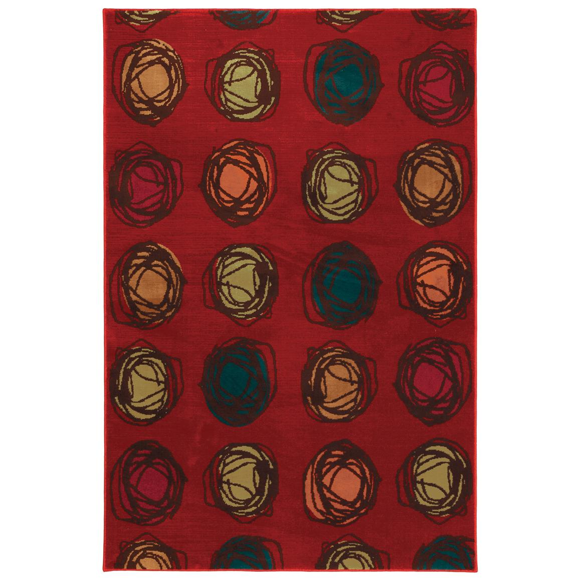 Mohawk Home Foot Loose Contemporary Rug, Red
