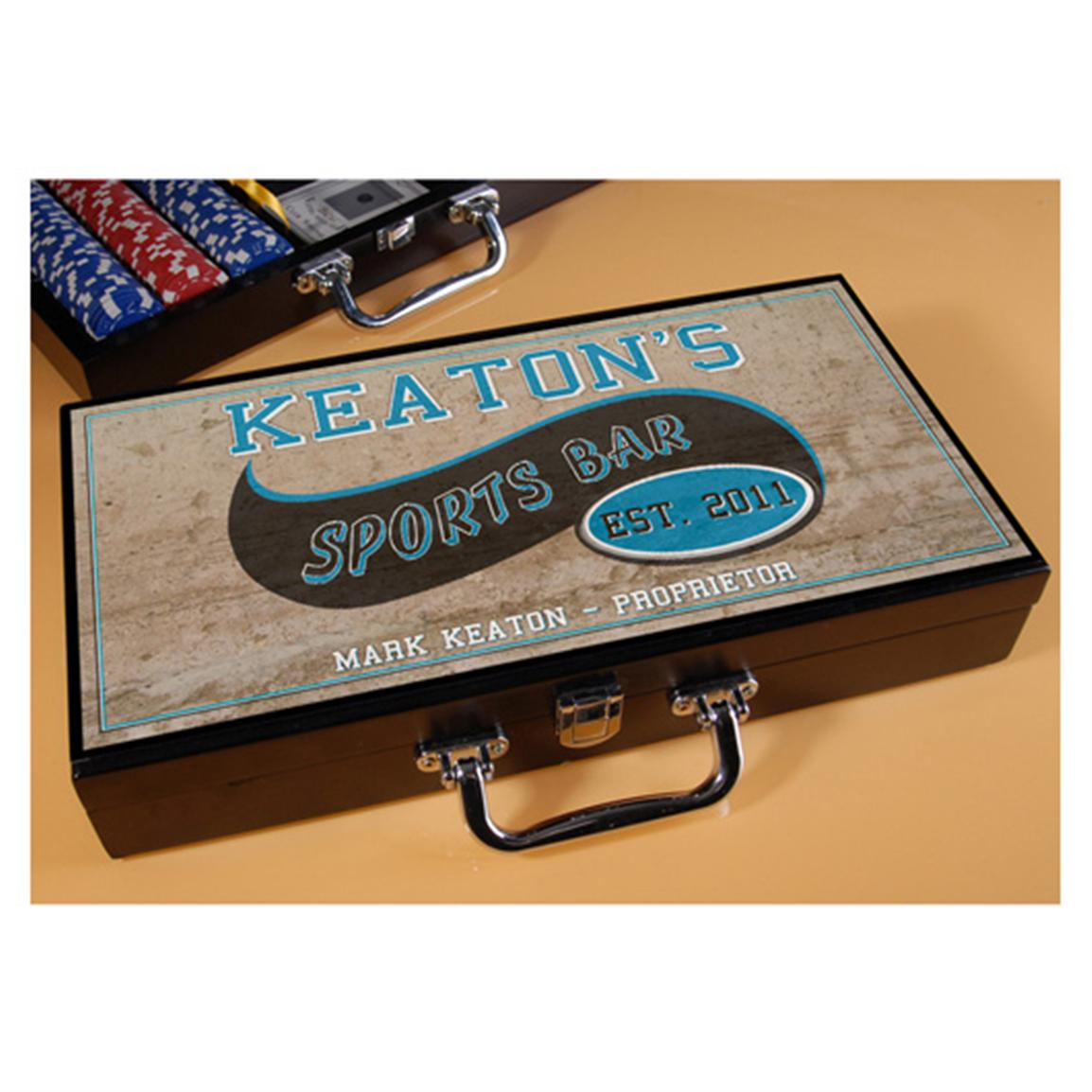 Personalized Sports Bar Poker Set