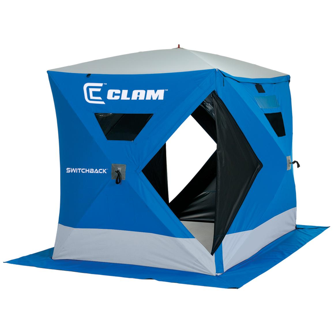 Clam™ Switchback 6x8' / 8x10' Expandable Hub Pop-up 6-man Ice Shelter