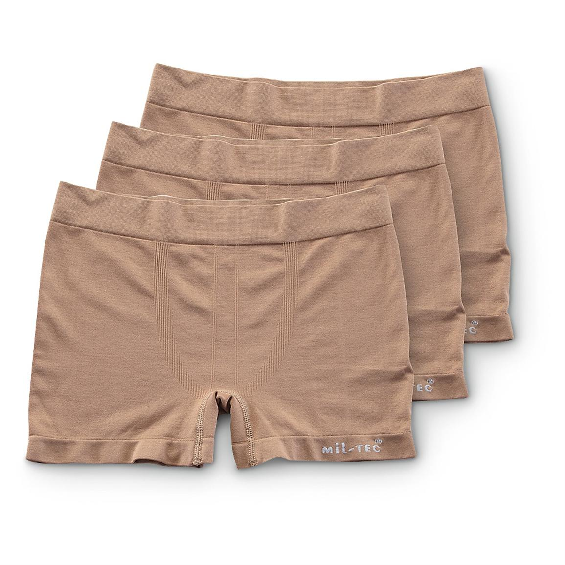 3 Mil-Tec Military Surplus Compression Shorts, Coyote