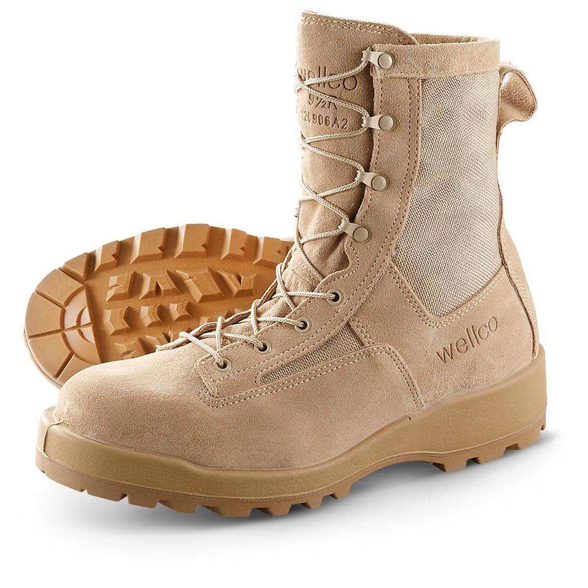 Military-style Wellco® HW V-Trax® Combat Boots, Tan
