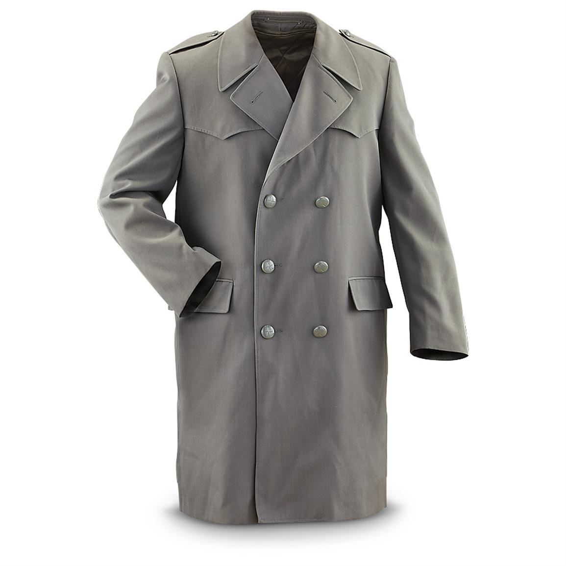Used Italian Military Trench Coat with Liner, Gray