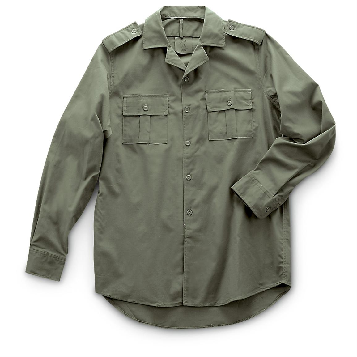 4 used Romanian Military Long-sleeved Field Shirts, Olive Drab