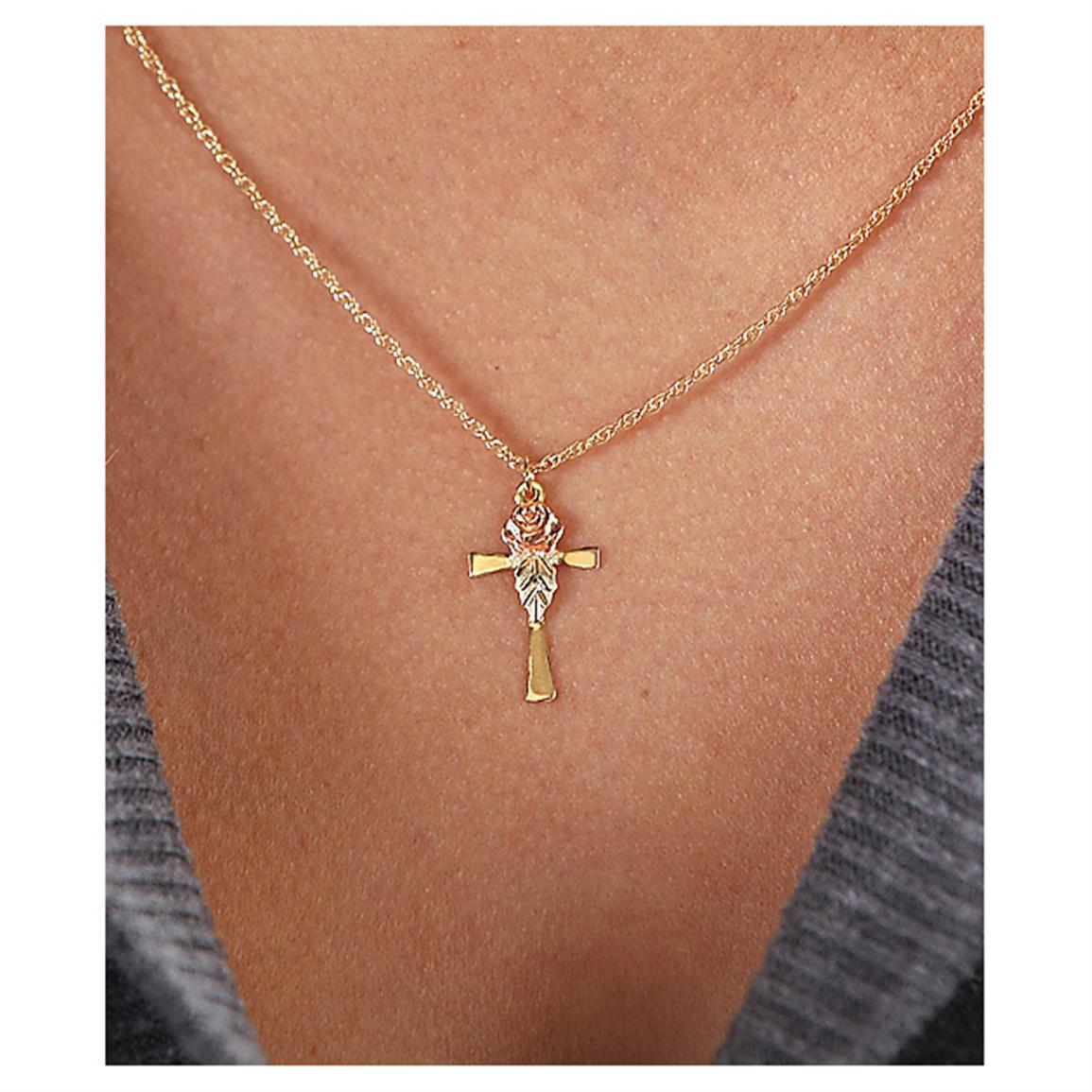 Black Hills Gold Rose and Cross Necklace