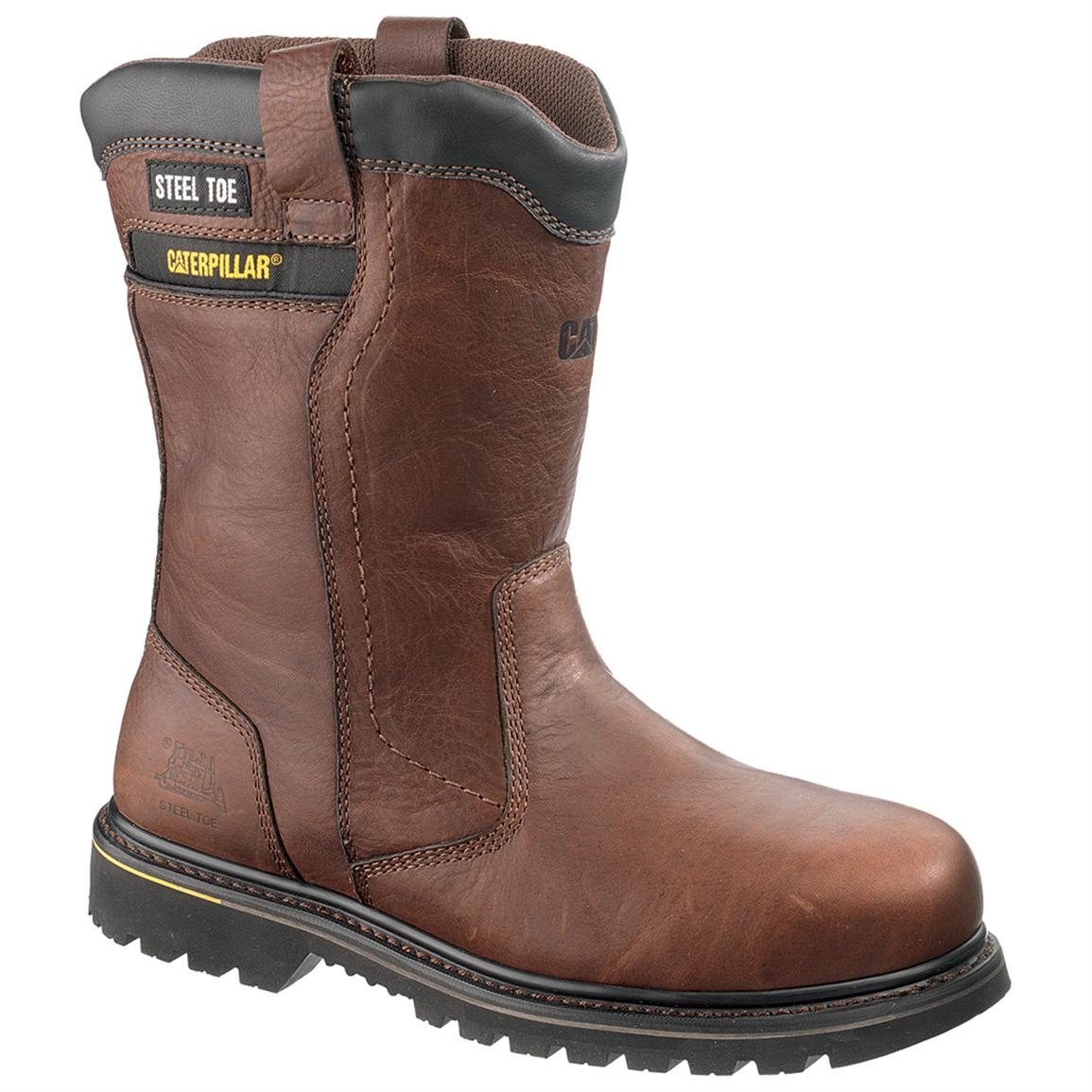 Men's CAT® 8 inch Elkhart Waterproof Steel Toe Wellington Work Boots, Oak