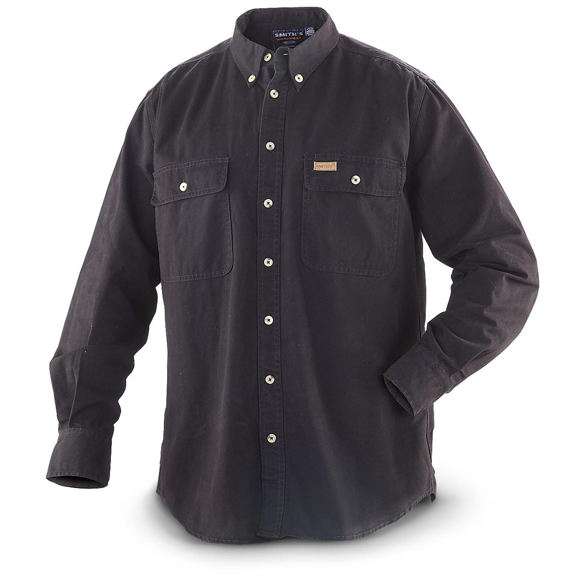 Smith's™ Long-sleeved Twill Work Shirt, Black