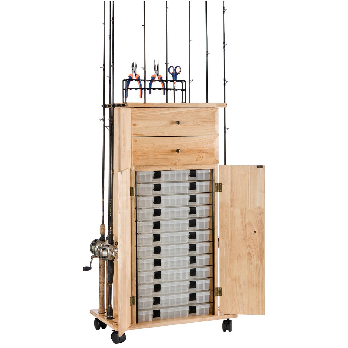 Organized Fishing 18-Rod Narrow Floor Cabinet with 4 Tackle Drawers