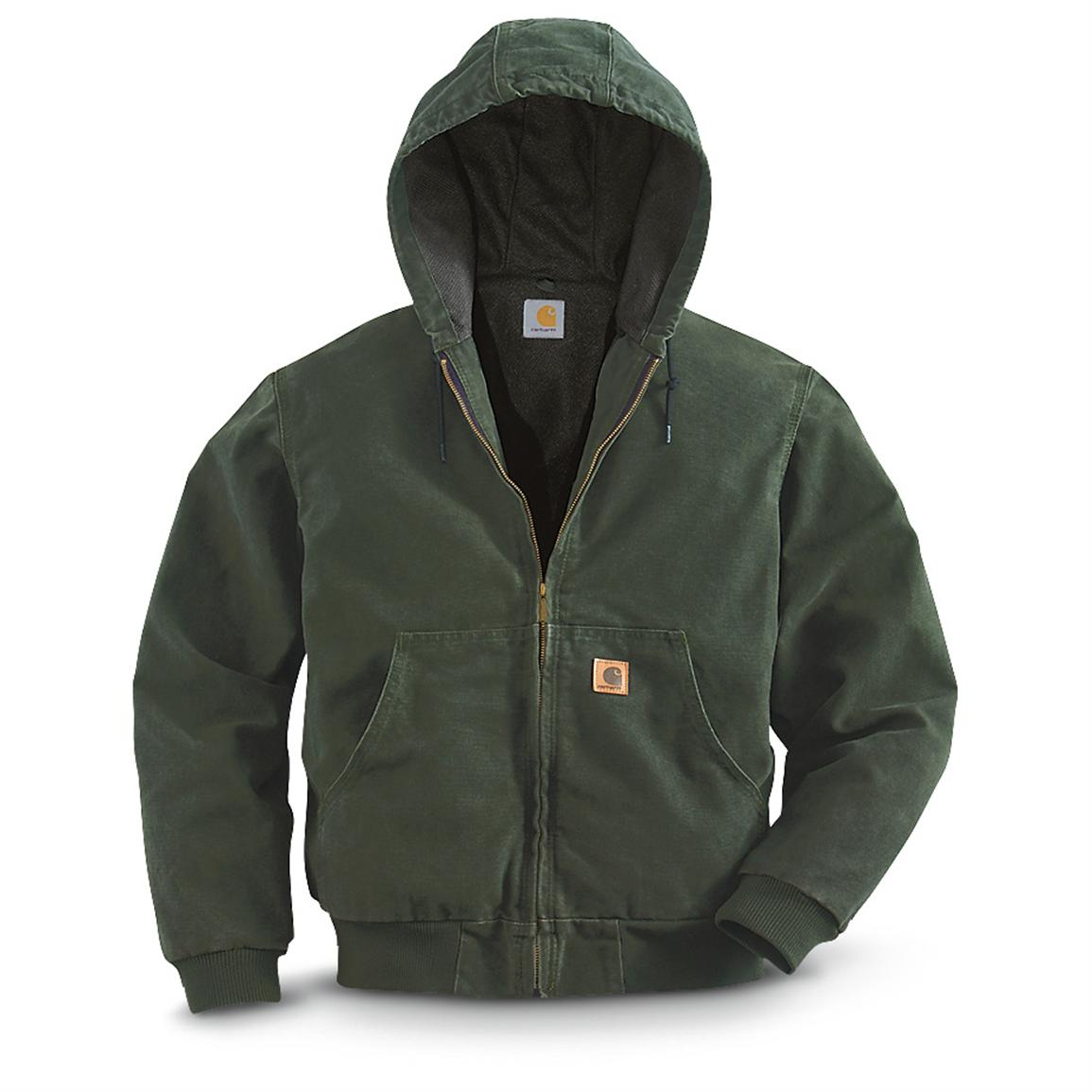 Carhartt® Thermal-lined Sandstone Duck Active Jacket, Moss
