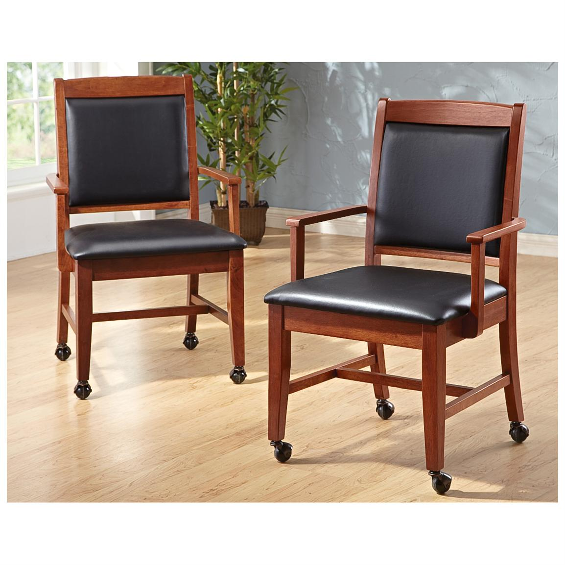 2 pk of caster chairs cherry 231902 kitchen dining stools at sportsman 39 s guide. Black Bedroom Furniture Sets. Home Design Ideas