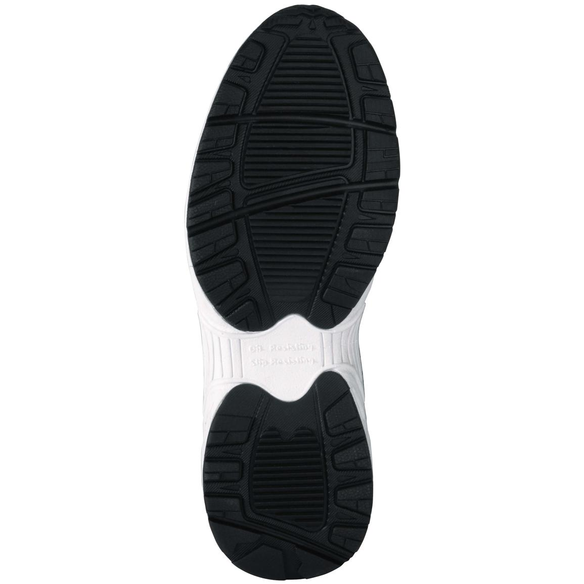 Dual density rubber outsole is oil, abrasion, chemical, heat, metal chips and slip resistant