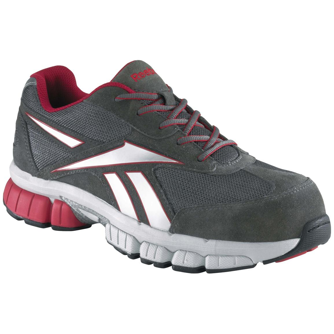 Men's Reebok® Performance Composite Toe Cross Trainers, Gray / Red