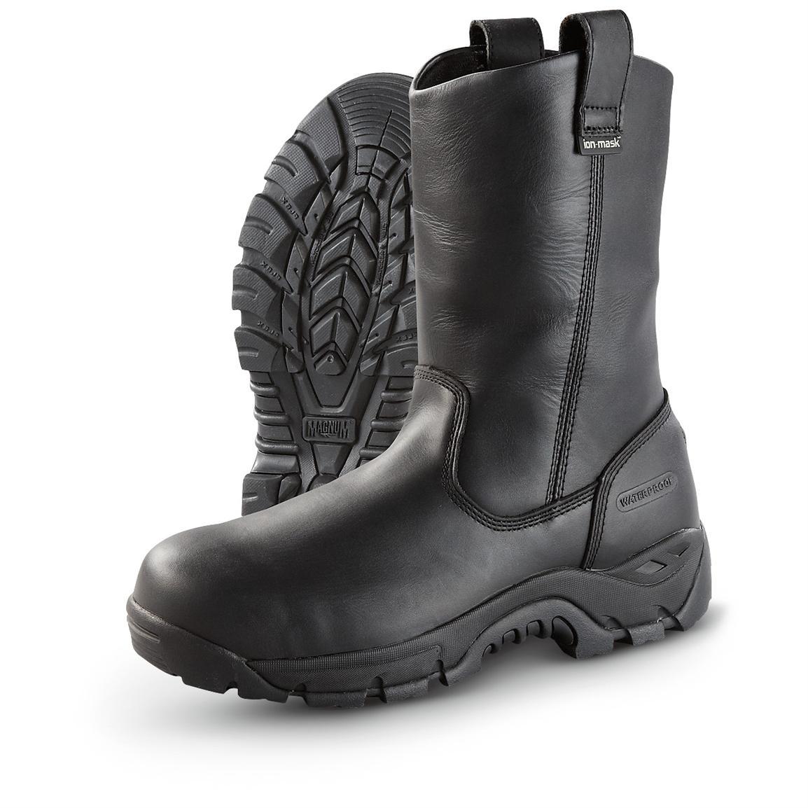 "Men's Magnum® 10"" Work Pro Ultra WPi Waterproof Composite Toe Pull-on Boots, Black"